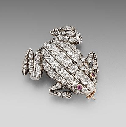 A XIX Century Diamond Frog Brooch