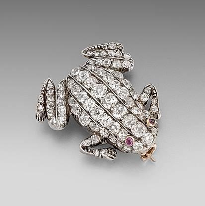 A XIX Century Diamond Frog Brooch
