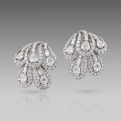 A Pair of Glamorous Mid 20th century Diamond Earrings