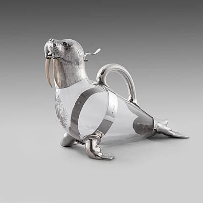 A Victorian Silver Mounted Glass Walrus Claret Jug