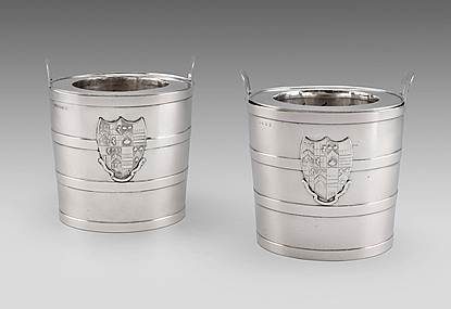 An Elegant Pair of Bucket Wine Coolers