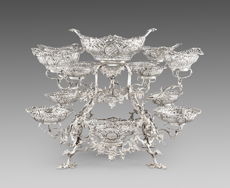A Monumental Victorian Twelve-Arm Epergne