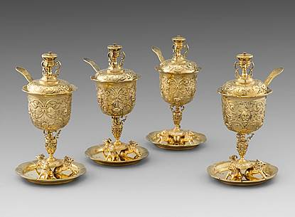 A Set of Four Silver-gilt Sugar Vases with Covers and Sugar Sifters