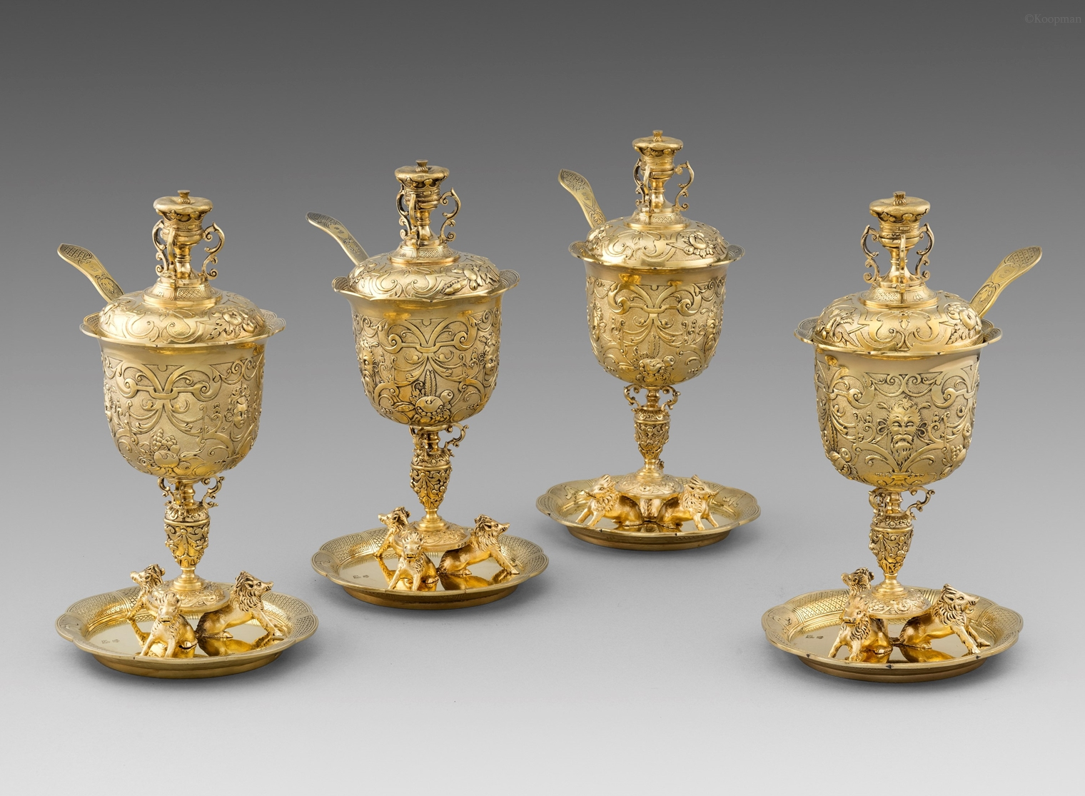 A Set of Four William IV Sugar Vases with Covers and Sugar Sifters