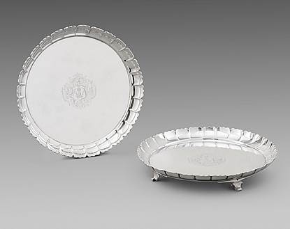 An Elegant Pair of George II Salvers