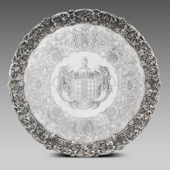 A Monumental Cast Grapevine and Shell Bordered Salver