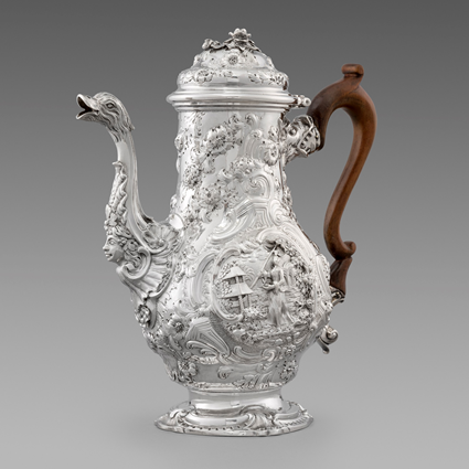 A George II Chinoiserie Coffee Pot