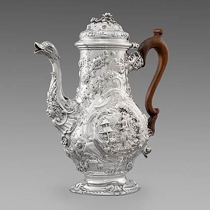 A George II Chinoiserie Coffee Pot
