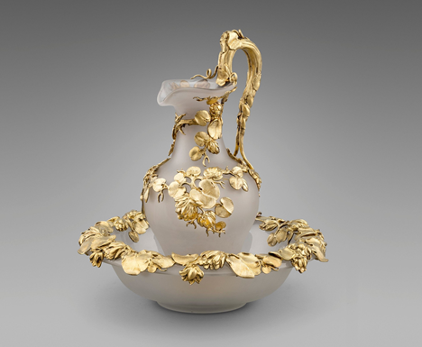 An Early Victorian Silver-Gilt Mounted Ewer and Basin