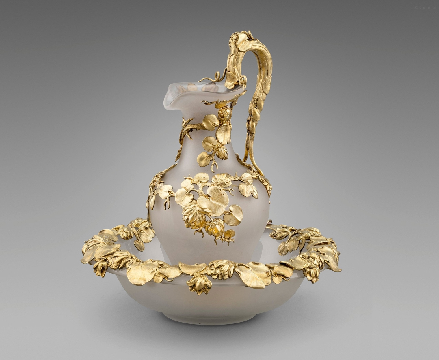 A Silver-Gilt Mounted Ewer and Basin