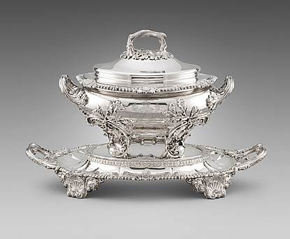 A Regency Two-Handled Soup Tureen on Stand