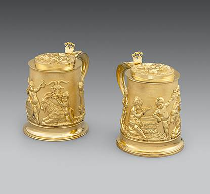 An Extremely Rare Pair of Regency Tankards