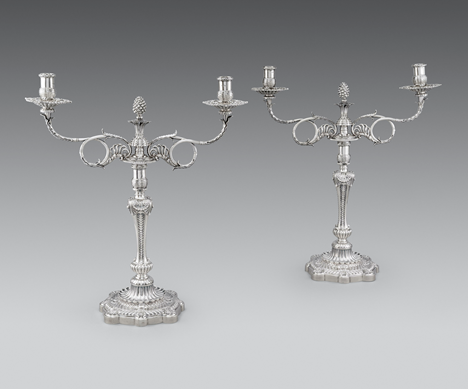 A Pair of Regency Silver Two-Light Candelabra