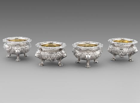 A Magnificent Set of Four 'Cauldron' Salt Cellers