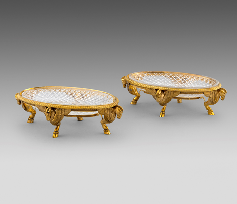 A Set of Four French Silver-Gilt Dishes