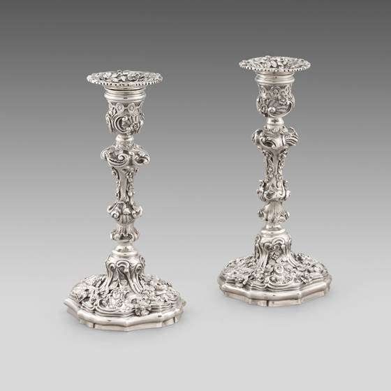 A Pair of Ornate Candlesticks