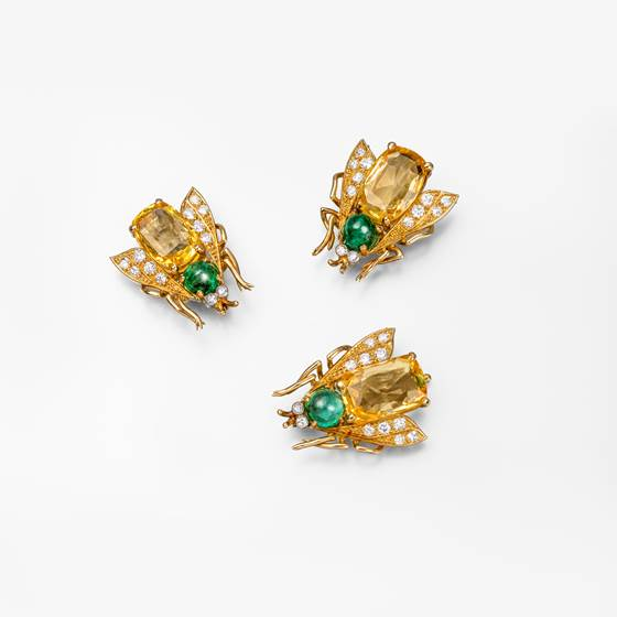 Three yellow sapphire, emerald and diamond brooches, 'Abeille'