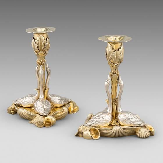 An Elegant Pair of Swan Candlesticks