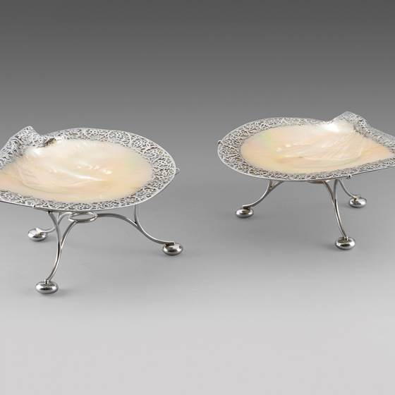 A Pair of Scottish Abalone Silver Mounted Dishes on Stands