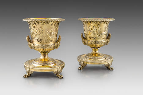 A Highly Important Pair of Silver-Gilt Wine Coolers & Stands