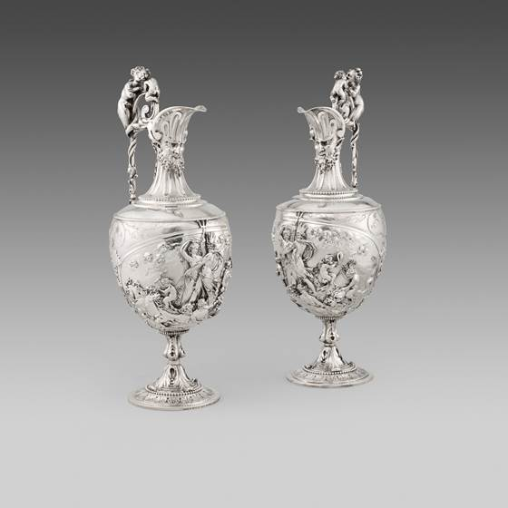 A Pair of 19th Century Sculptural Wine Ewers