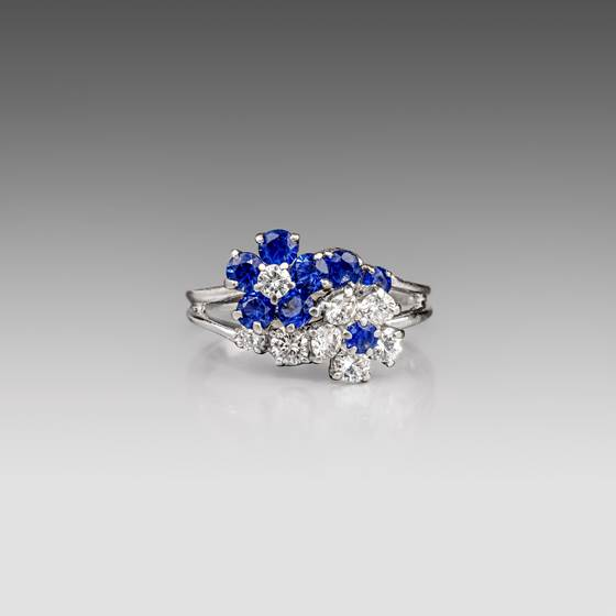 A Sapphire and Diamond 'Forget-Me-Not' Ring, Cartier New York, Circa 1960