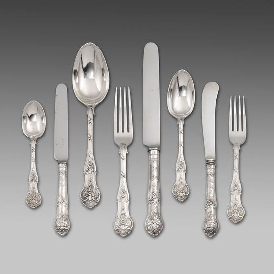 An Extremely Rare 19th Century King's Shaped Rococo Flatware Service