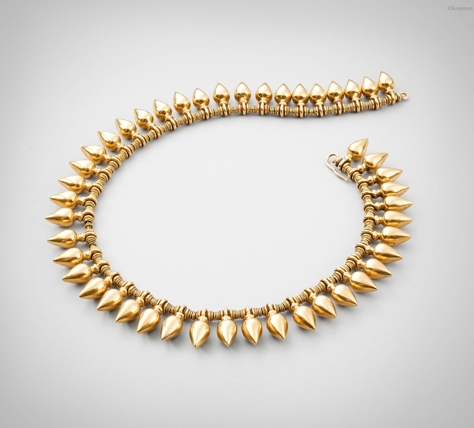 A 19th Century Gold Archaeological Revival Droplet Fringe Necklace