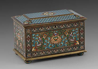 A French Cloisonné Enamelled Bronze Casket