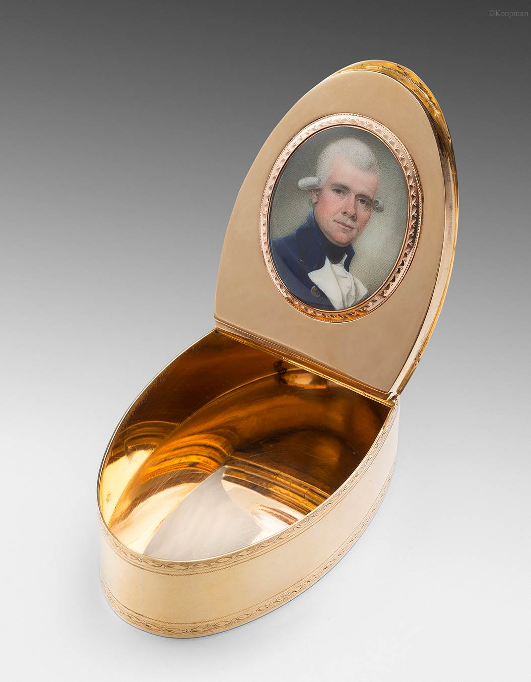 A George III Gold Elliptical Gold Box with Portrait Miniature