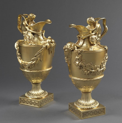 A Magnificent Pair of Ewers