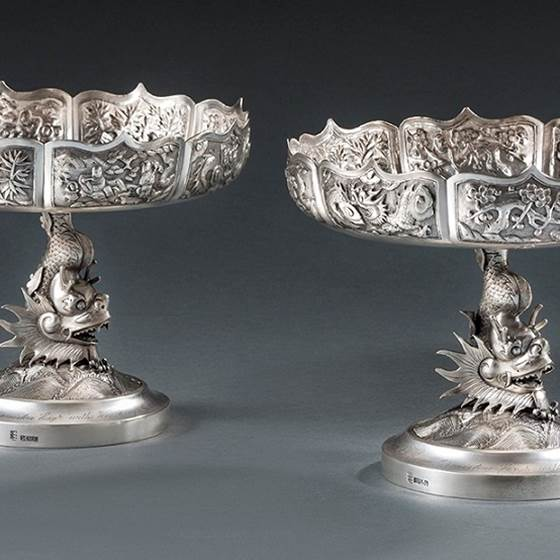 A Pair of 20th Century Chinese Tazza