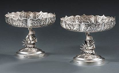 A Pair of 19th Century Chinese Tazza