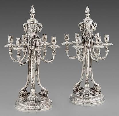A Pair of 19th Century German Six-Light Candelabra