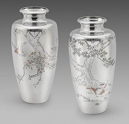 A Pair of Meiji Period Japanese Vases