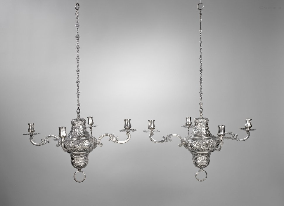 A Pair of Spanish Silver Four-Light Chandeliers