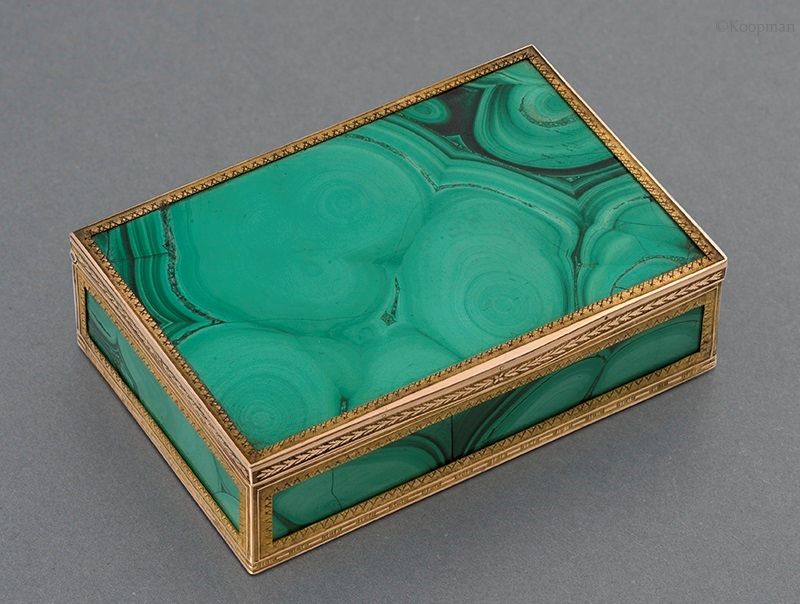A Rare Gold, Malachite & Moss Agate Box