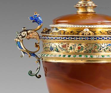 A Spectacular German 19th Century Two-Handled Cup and Cover