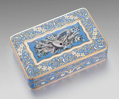 A Swiss Enamelled Gold Box
