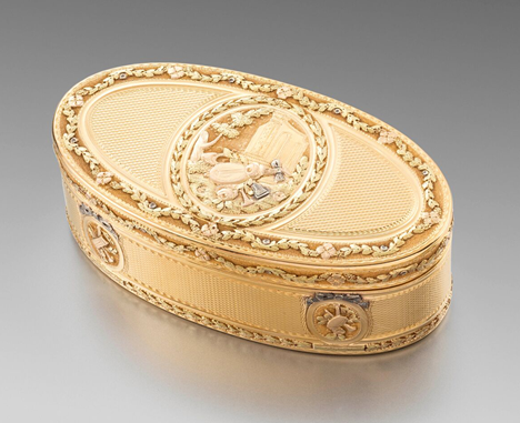 A French Vari-Colour Oval Gold Box