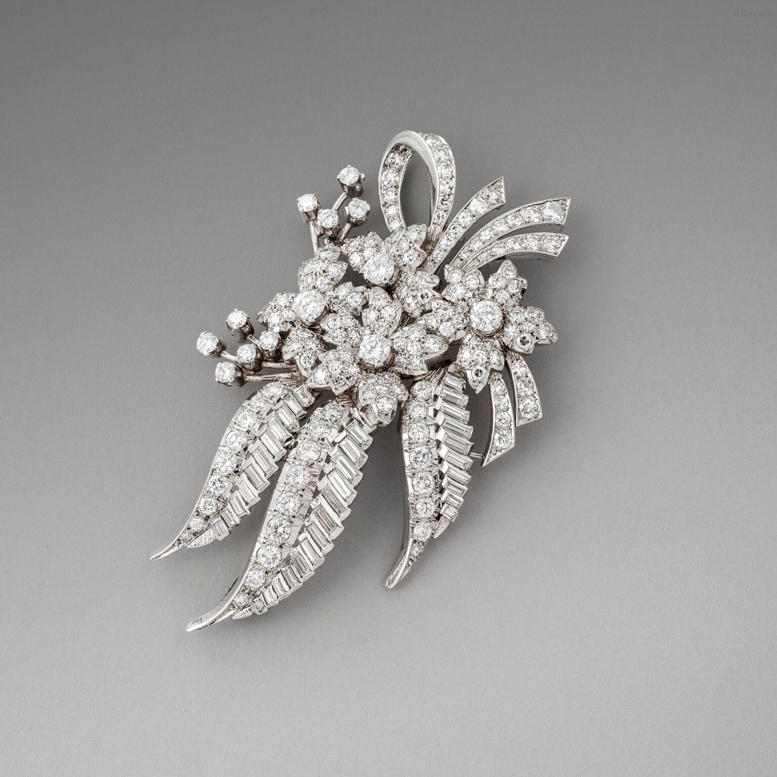 Diamond Flower Brooch Circa, 1950