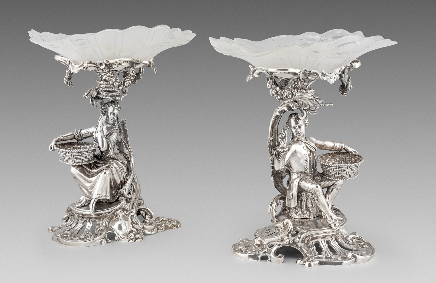 An Elegant Pair of Victorian Figural Comports