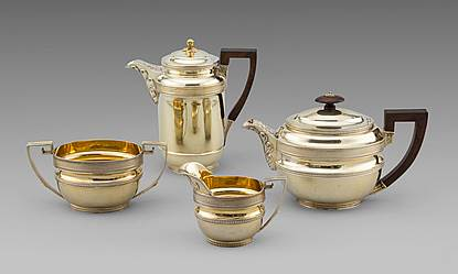 An Elegant Neo-Classical Design Four-Piece Tea Service
