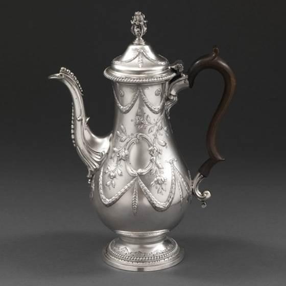 A Fruitwood Handle Coffee Pot