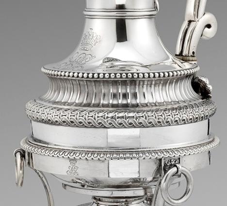A Fine George III Coffee Pot on burner by Paul Storr
