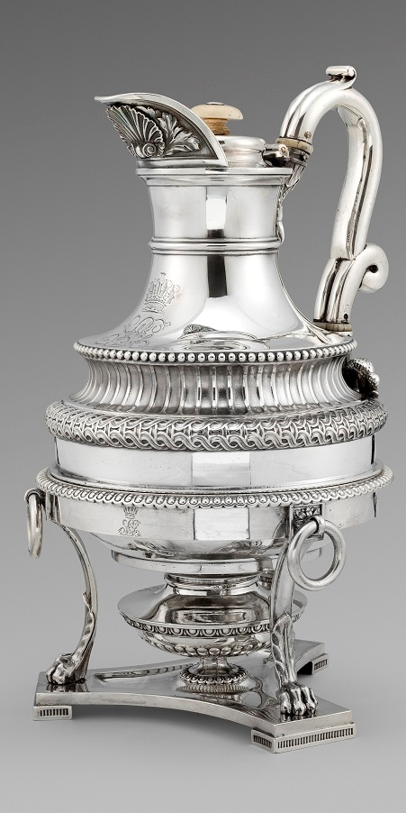 A Fine George III Coffee Pot on burner by Paul Storr