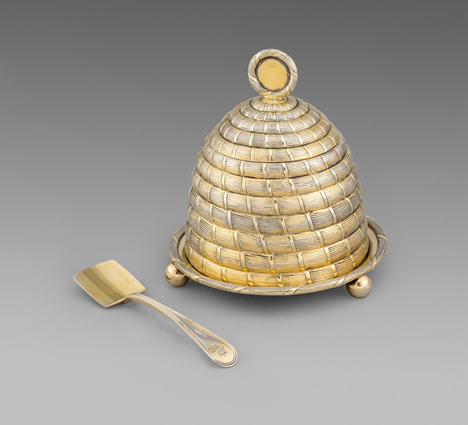 A George III Honey Pot, Cover and Stand