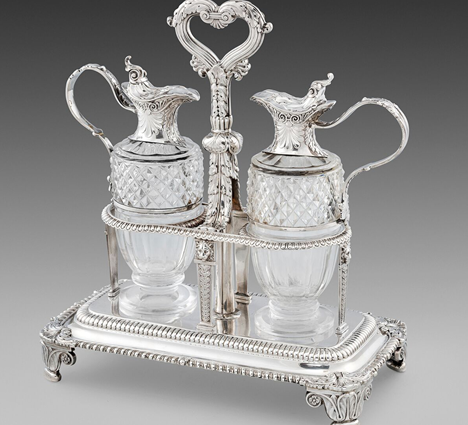 A George III Silver Two-Bottle Cruet Stand