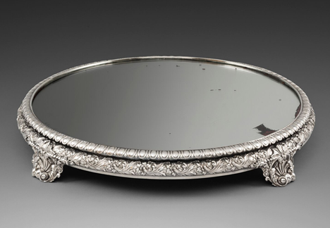 A George IV Silver-Mounted Mirror Plateau