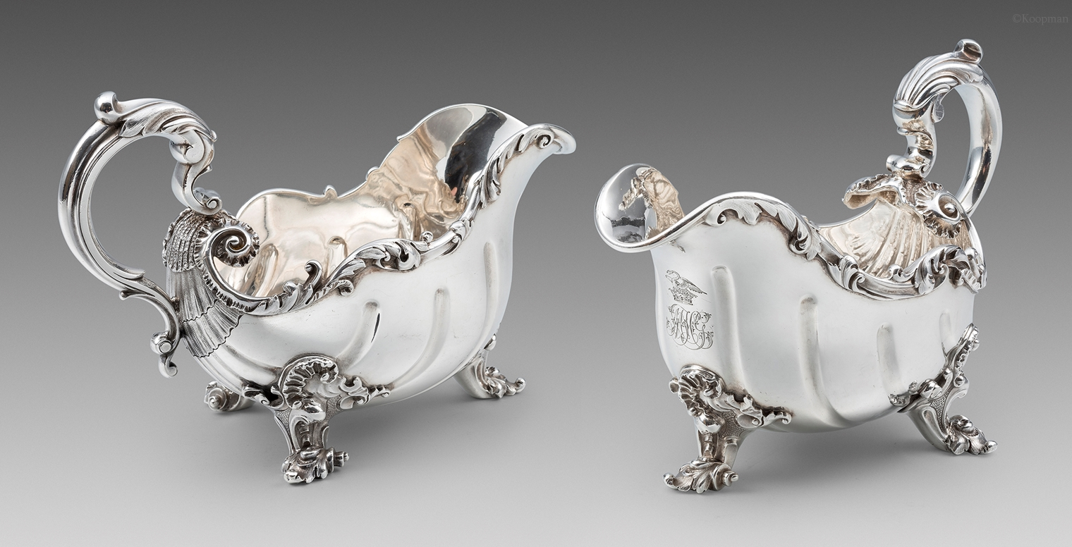 A Magnificent Pair of William IV Rococo Sauceboats
